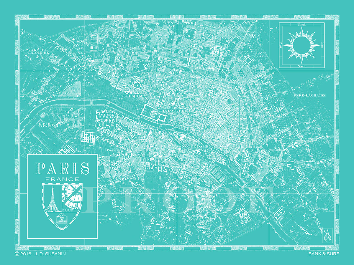 Map Of Paris France Custom Maps Bank Surf Bank And Surf - Paris map 2016