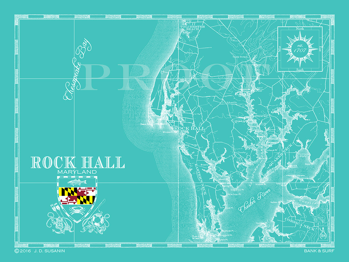 Map of Rock Hall MD Bank and Surf