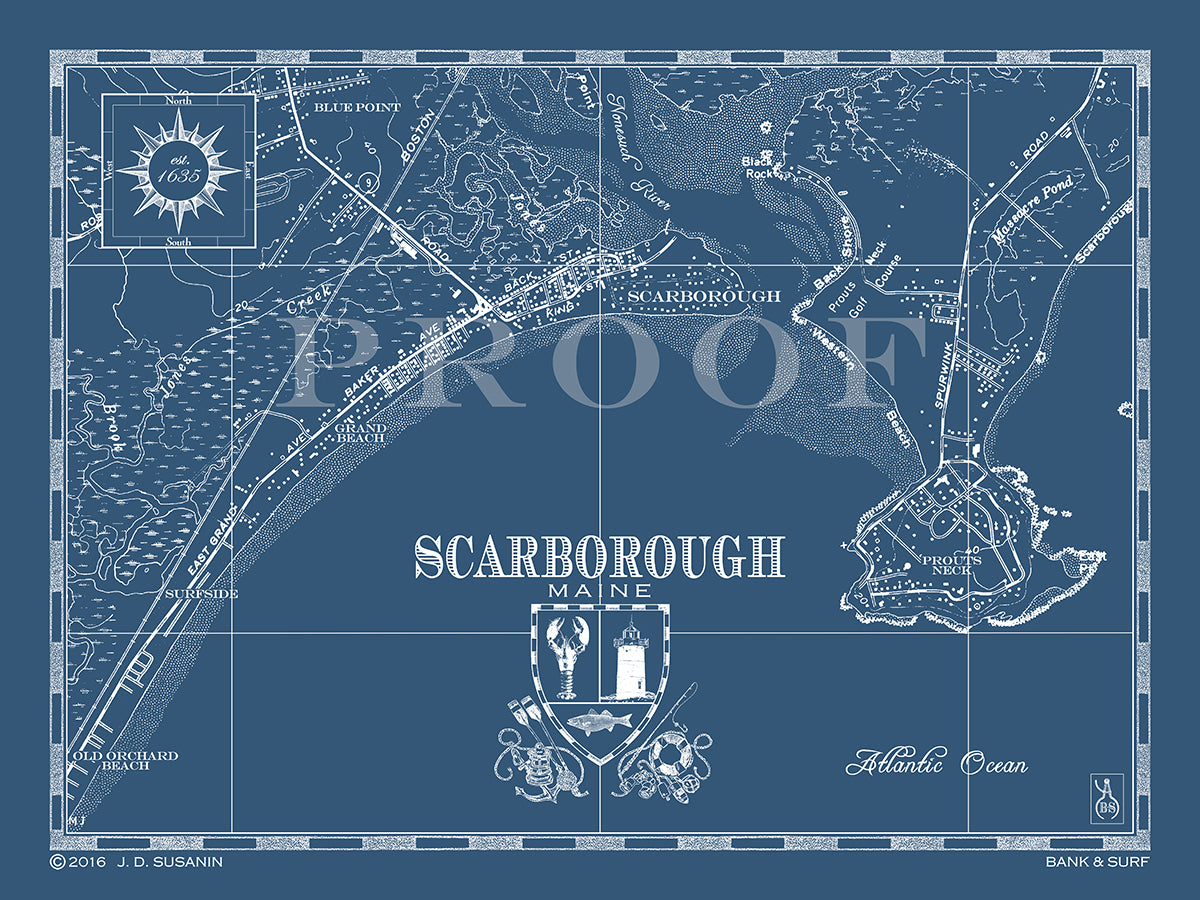 Map Of Scarborough Me Custom Maps Bank Surf Bank And Surf