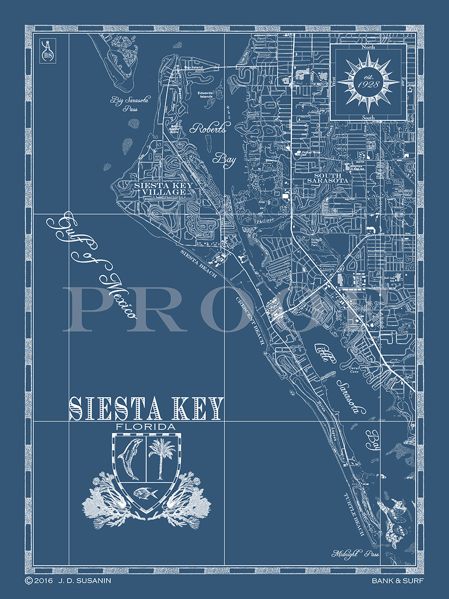 Map Of Siesta Key Fl Custom Maps Bank Surf Bank And Surf
