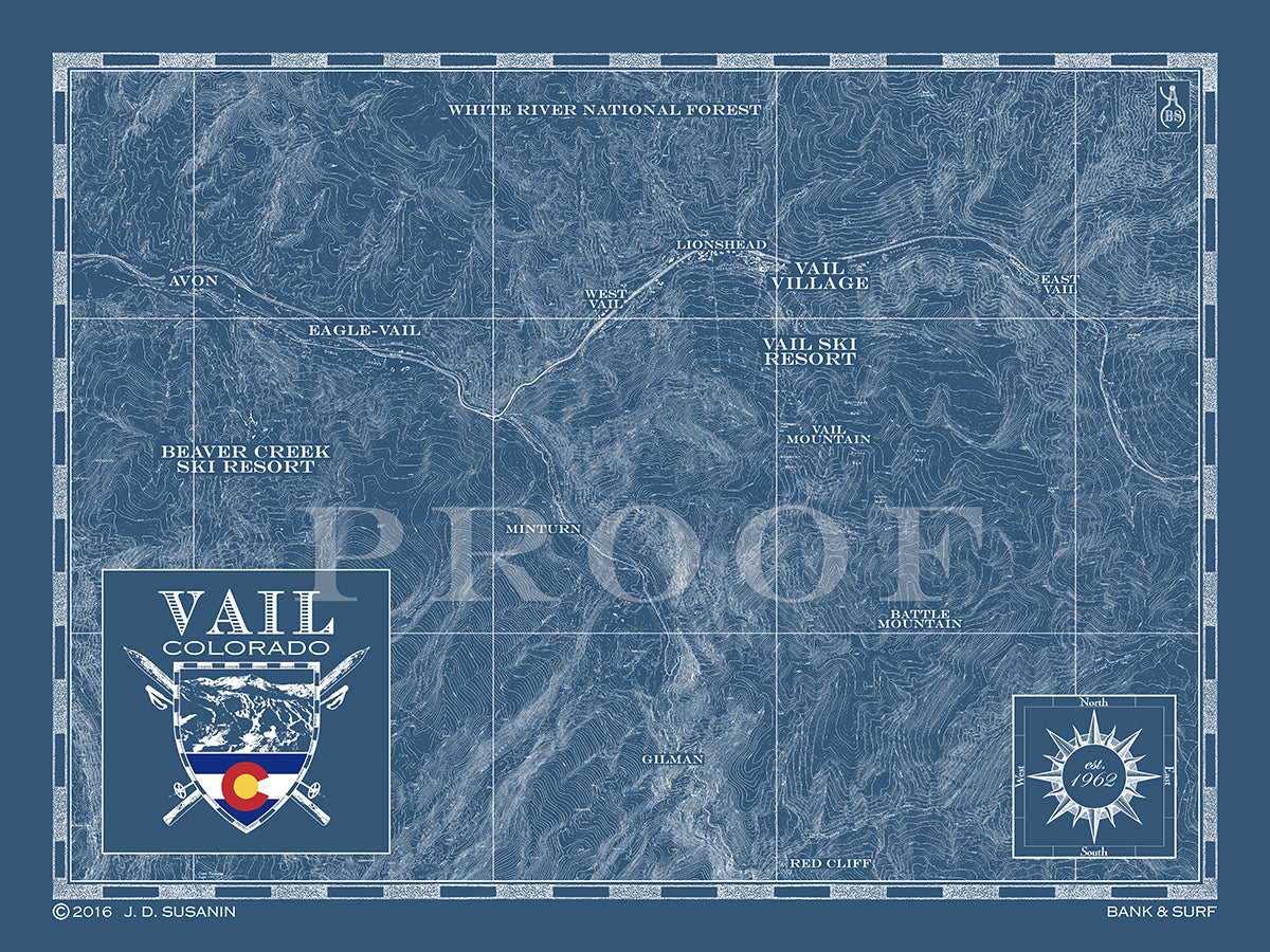 Map of Vail, CO | Custom maps | Bank & Surf - Bank and Surf