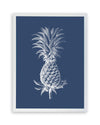 Framed Pineapple Print - Pineapple in Navy and White