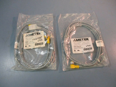 Ametek Gemco Euro Connector 6 Foot 4 Pin Right Angle 12mm NEW LOT OF TWO