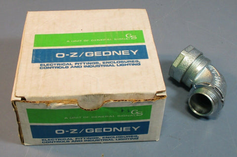 "(4) O-Z Gedney 4Q-9100 90 Degree Conduit Connector Liquidtight 1"" Zinc Plate NIB"