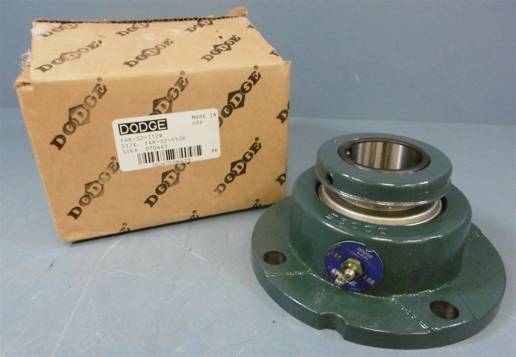 "Dodge Flange Block Bearing: F4R-S2-112R, 1-3/4"" Bore Dia, 4 Bolt"