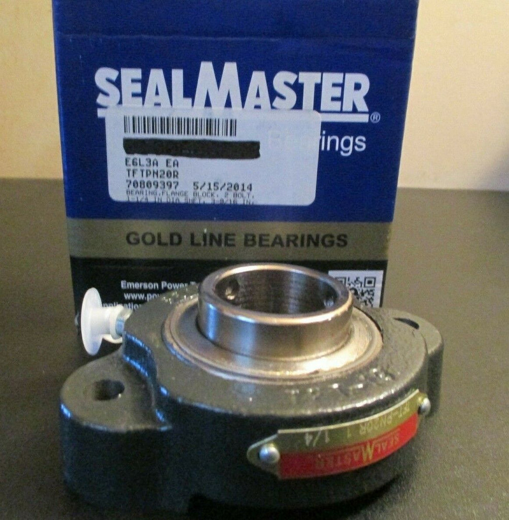 "Seal Master Gold Line 1 1/4"" Set Screw 2- Bolt Flange Block Bearing TFT-PN20R"