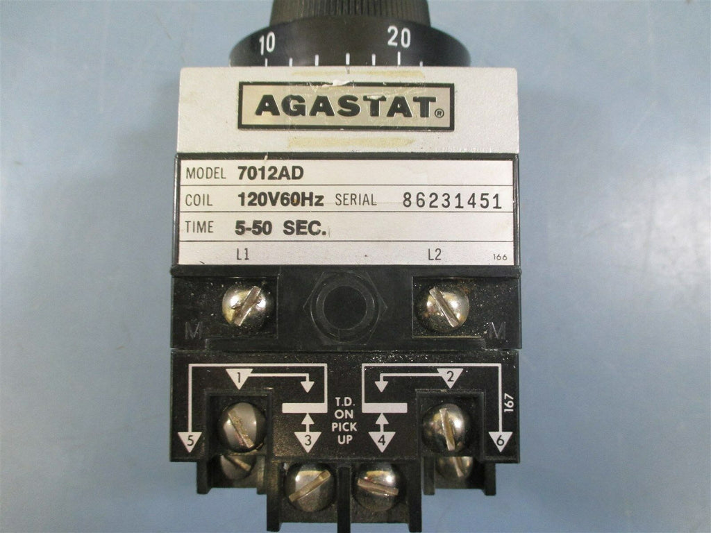 Agastat 7012AD 5-50Sec 120V 60Hz Timing Relay - Used