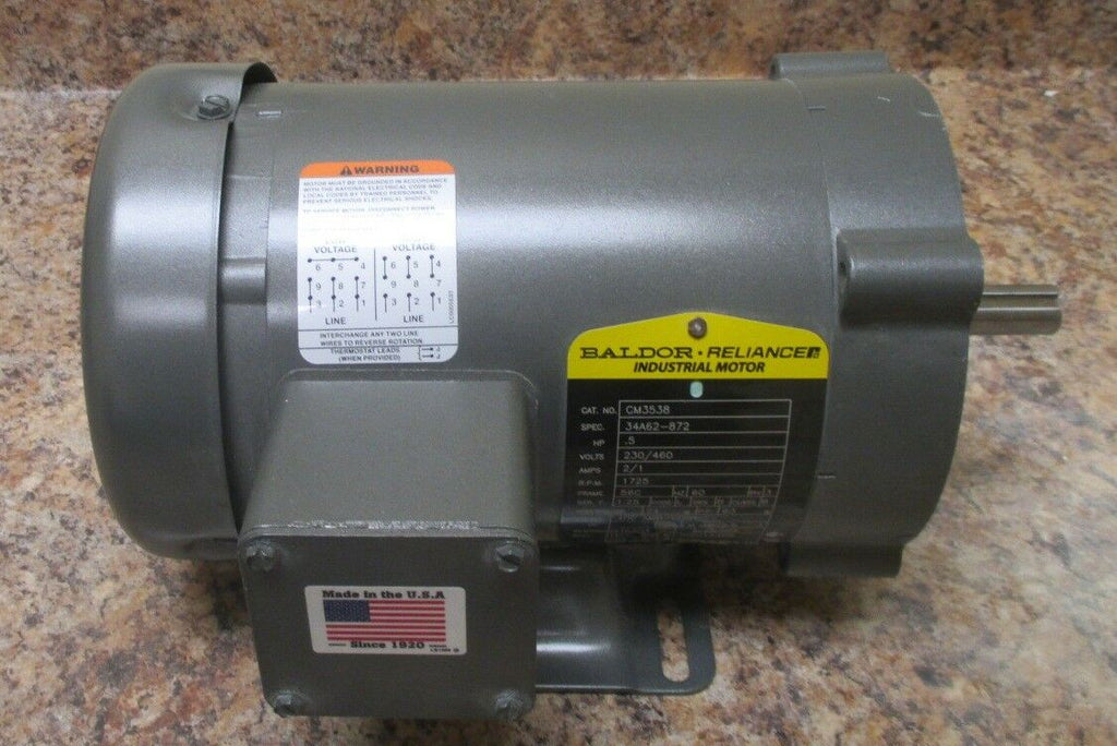 Baldor CM3538 0.5 HP Motor 3 Ph, 230/460 Volts, 1725 RPM, 56C Frame NWOB