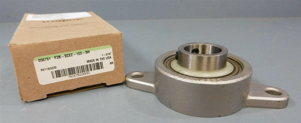"Dodge Flange Block Bearing: F2B-SCEZ-103-SH, 1-3/16"" Dia Shaft, 2 Bolt"