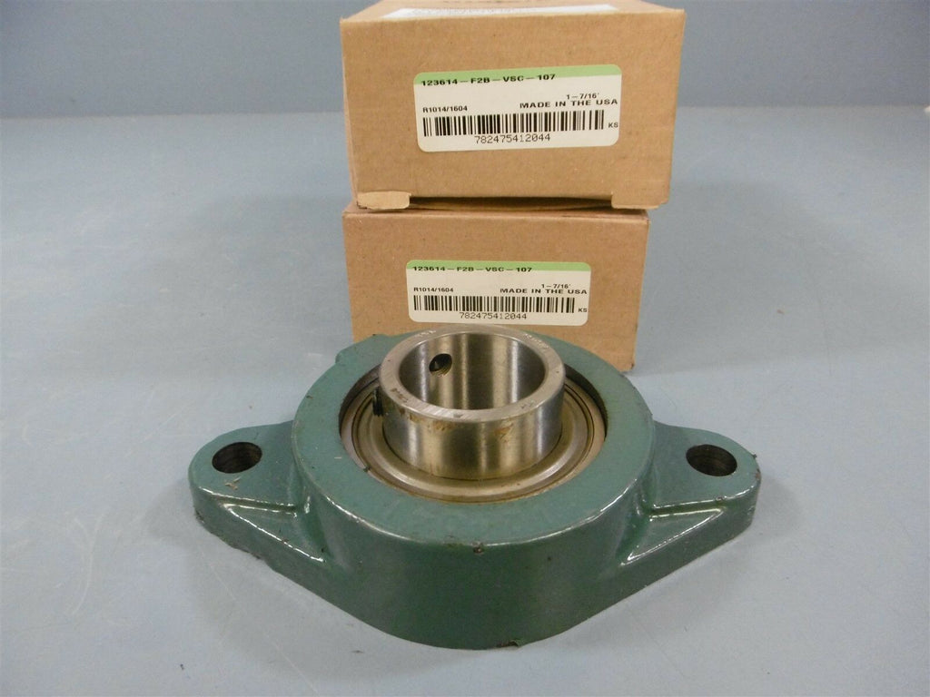 "New Lot Of 2 Dodge 123614 F2B-VSC-107 1-7/16"" Bore 2 Bolt Flange Bearing"