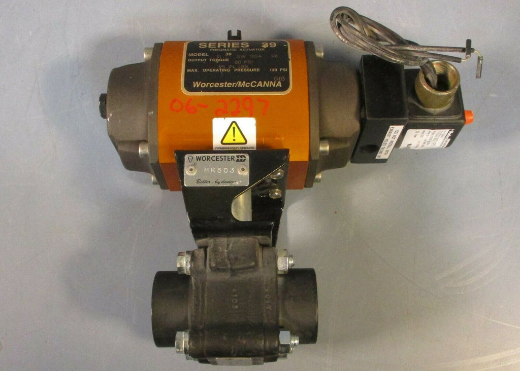 "Worcester 39 Pneumatic Actuator and 1 4446PMSE C0183 R2 Ball Valve 1.16"" Thread"