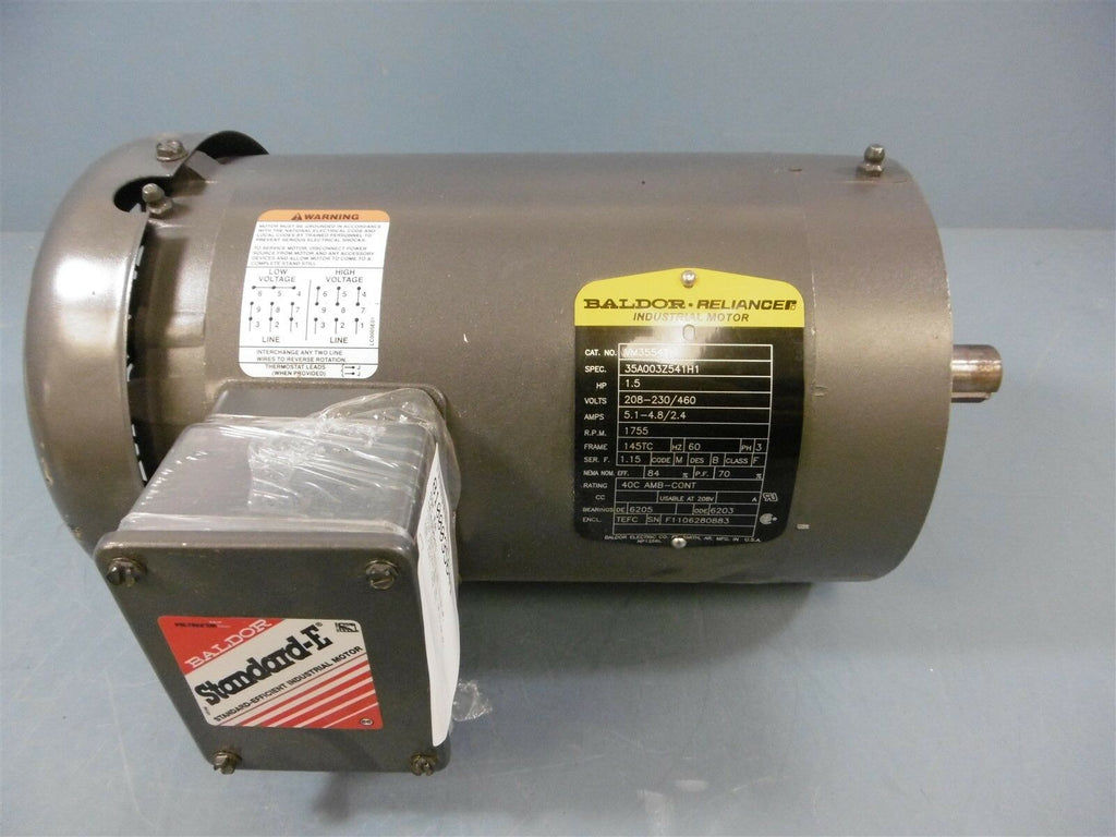 Baldor Reliance Motor 1VM3554T 1.5HP 208-230/460V 1755RPM 60HZ 3PH 145TC