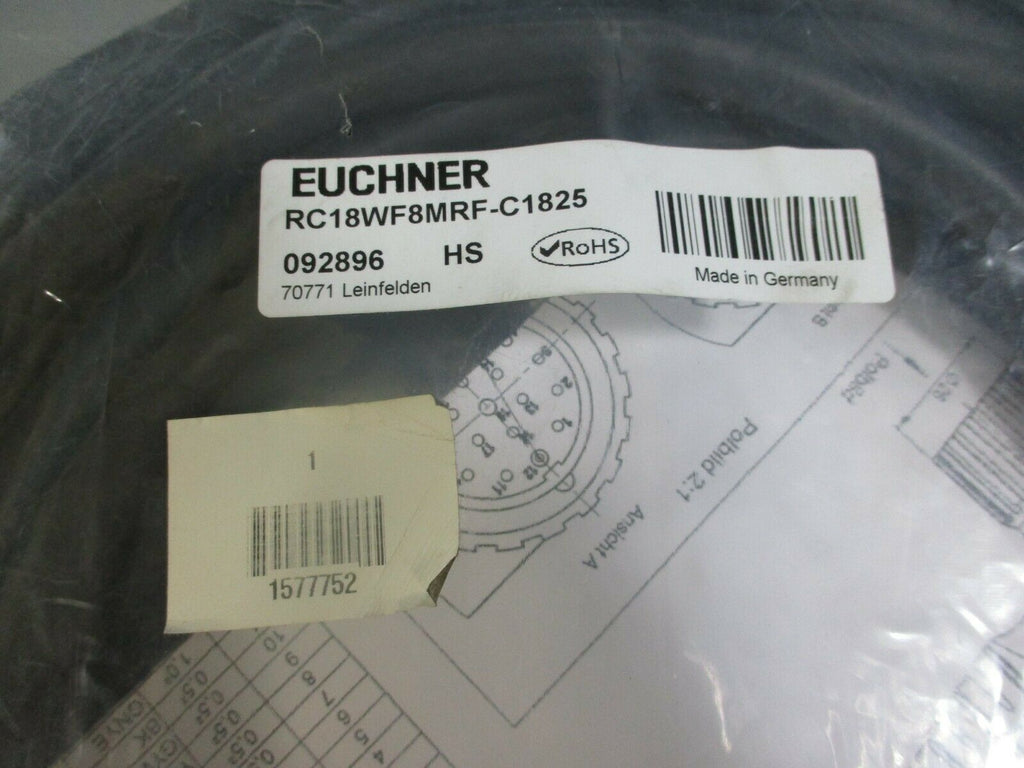 Euchner Connector Cable RC18WF8MRF-C1825 FACTORY SEALED