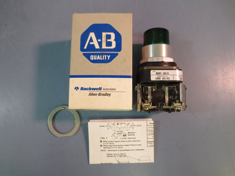 *READ Allen Bradley 800T-QB10G Green Illuminated Push Button Series T