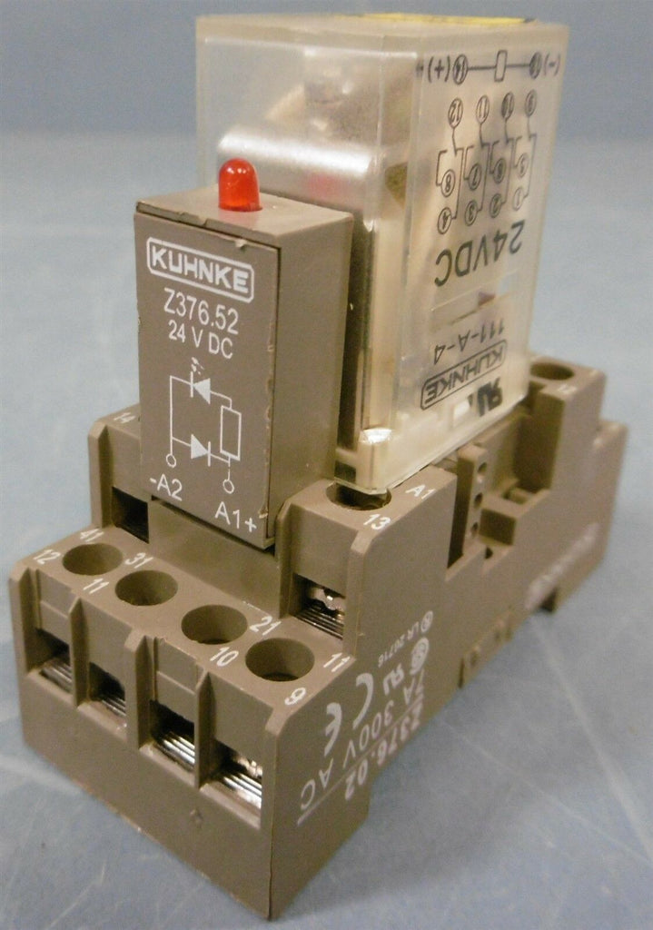 KUHNKE 111-A-4 24VDC Relay with Base Z376.02 7A 300V AC