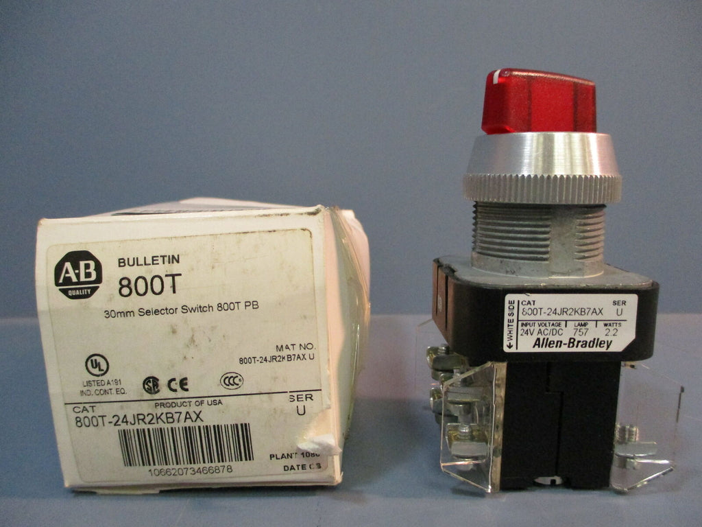 Allen-Bradley 30mm Selector Switch 800T PB 800T-24JR2KB7AX Ser. U NEW IN BOX