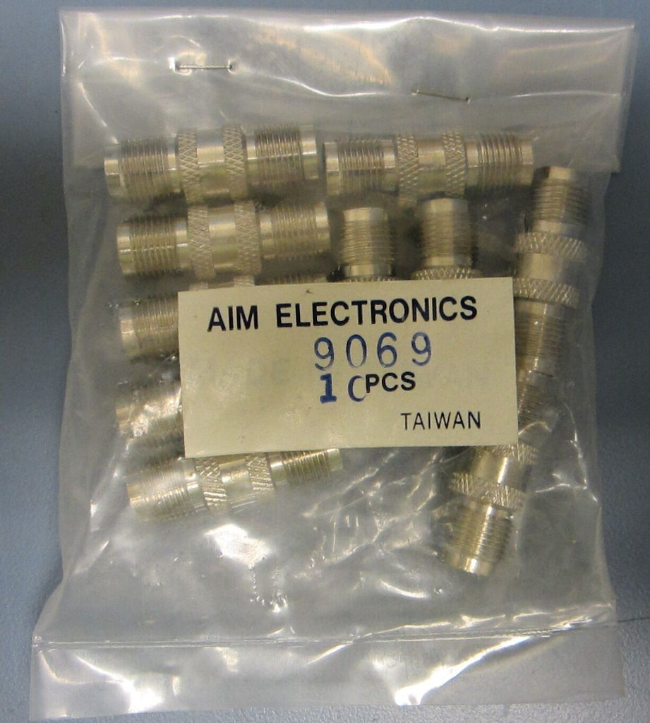 Bag of 10 New AIM Electronics Connectors 9069 Female Coax to Female Coax Coupler