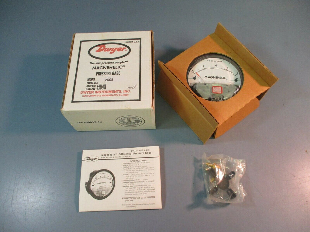 Dwyer Instruments Magnehelic Pressure Gage Model 2008 NEW IN BOX