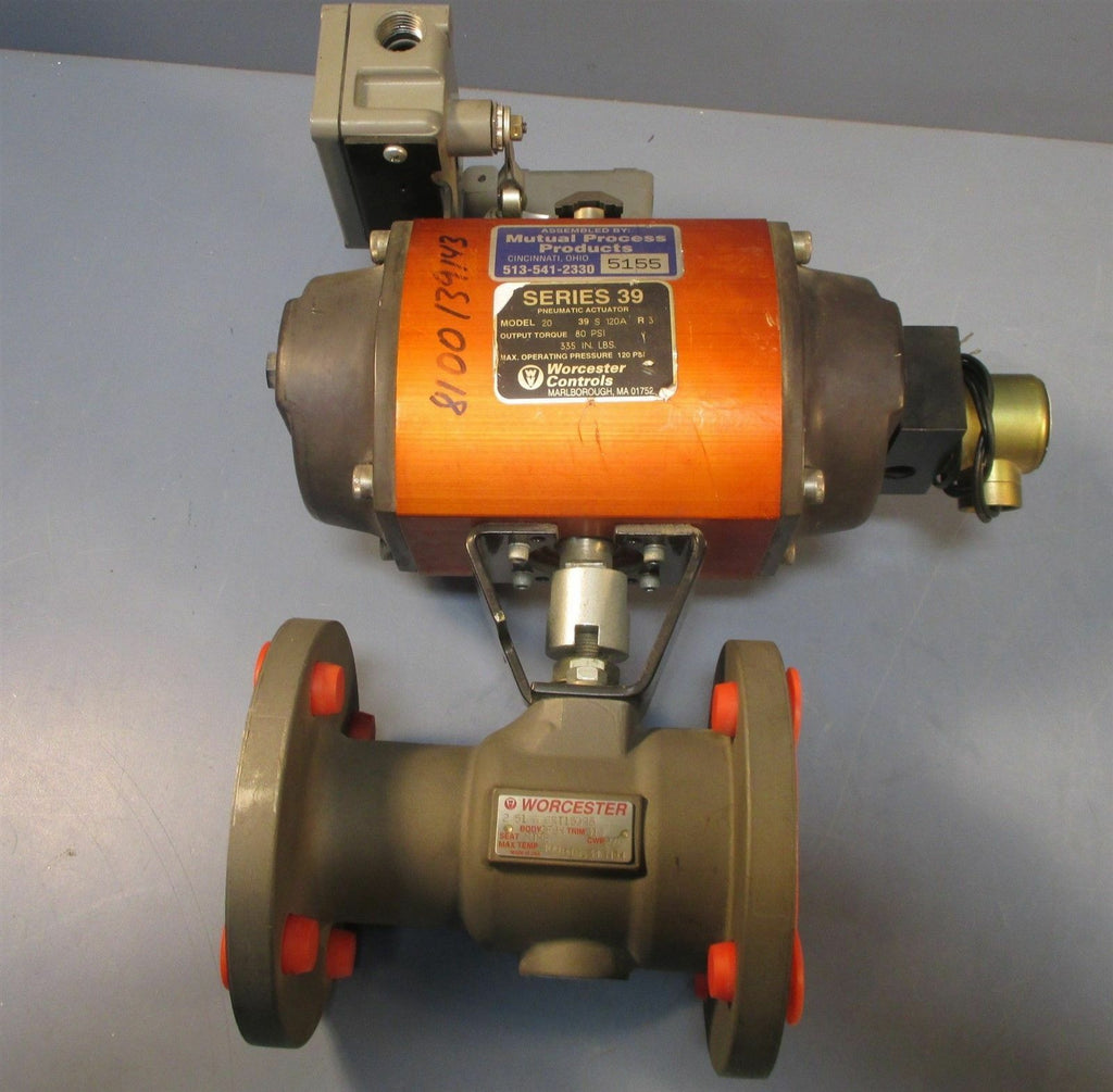 Worcester 2 51 6RT150R5 Pneumatic Actuator Ball Valve Model 20 39 S 120A R3 NWOB