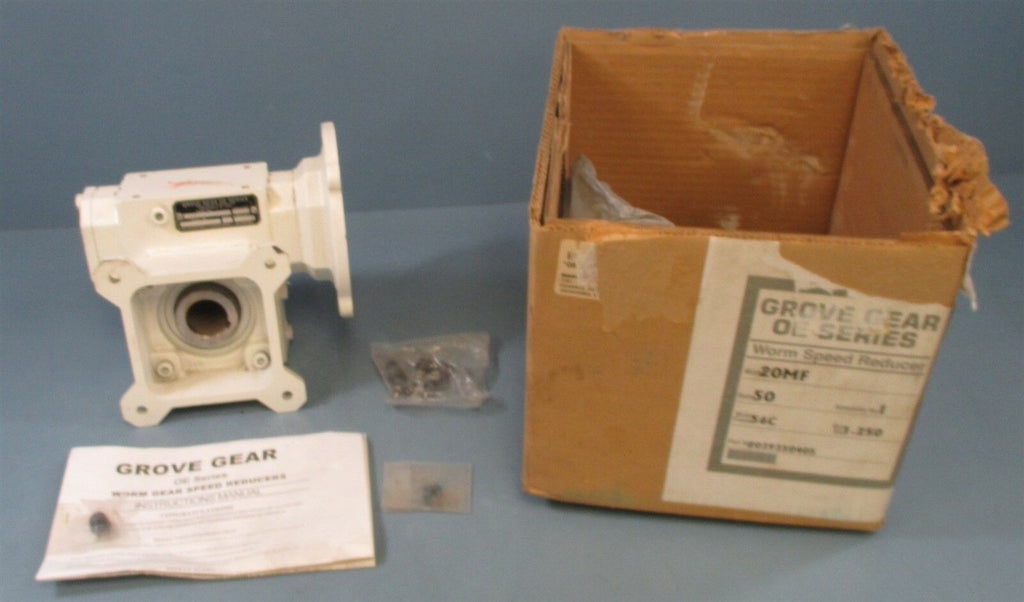 Grove Gear 20MF-1 Worm Gear Reducer 0.563 HP 50:1 Ratio Gearbox New