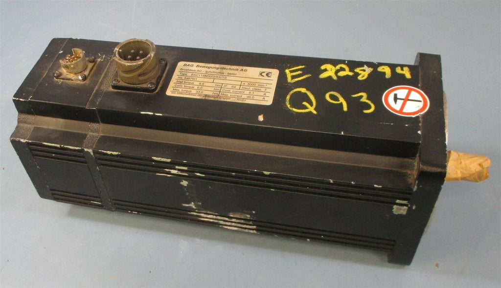 BAG Bewegungstechnik AG BAC118M30/3/RA/TS Brushless Servo Motor 33 Nm Max Parts