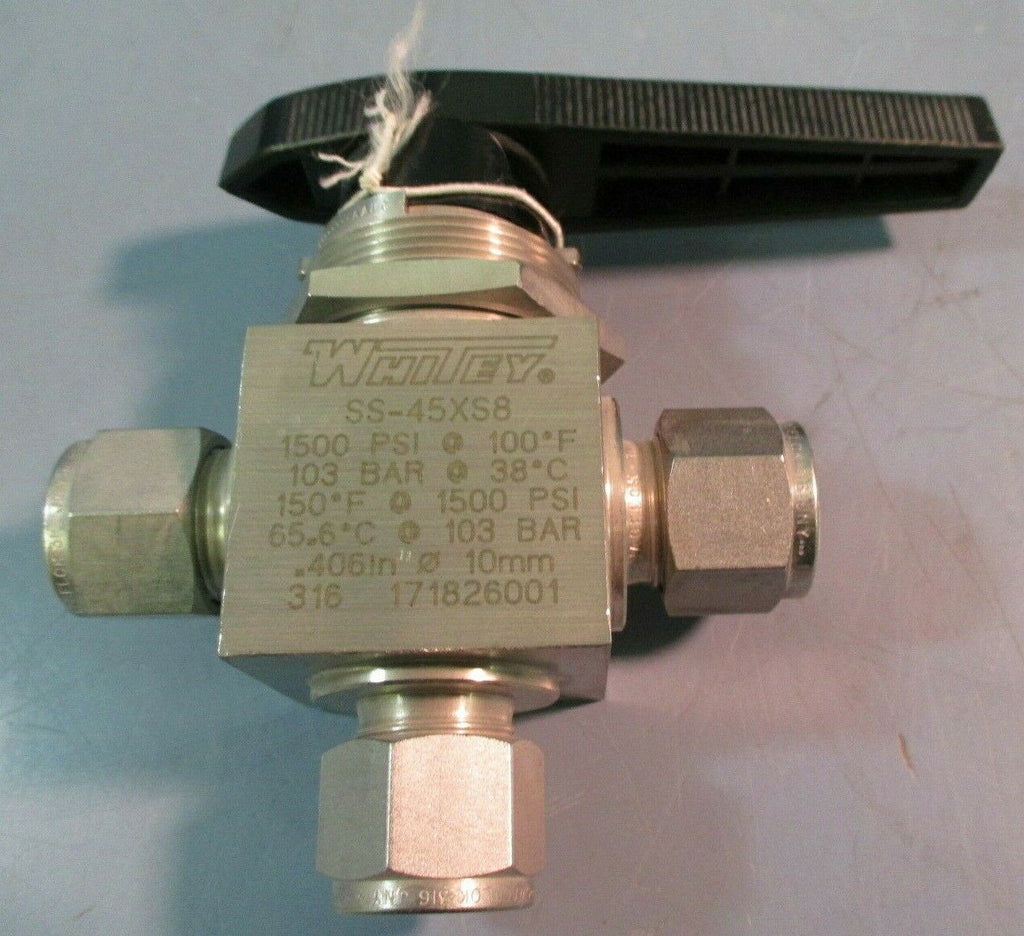 Whitey SS-45XS8 40 Series 3-Way Ball Valve 1/2 in Turn Handle Operated