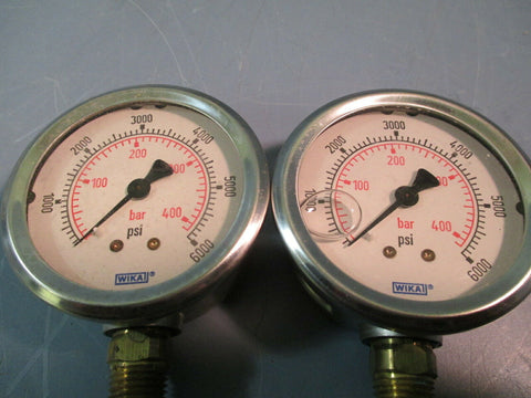 WIKA Industrial Pressure Gauge 6000 psi Range Liquid Filled Lot of Two 9748207