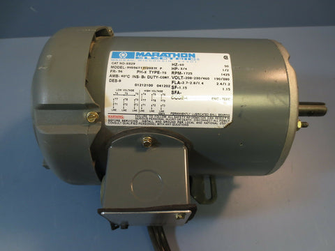 Marathon Electric 3 Ph AC Motor Cat. No.: G329 .5/.75 HP 1725/1425 RPM