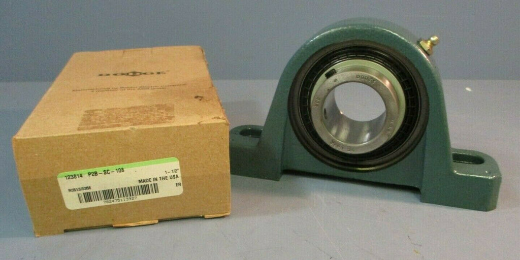 "Dodge Pillow Block Bearing P2B-SC-108: 1-1/2"" Bore"