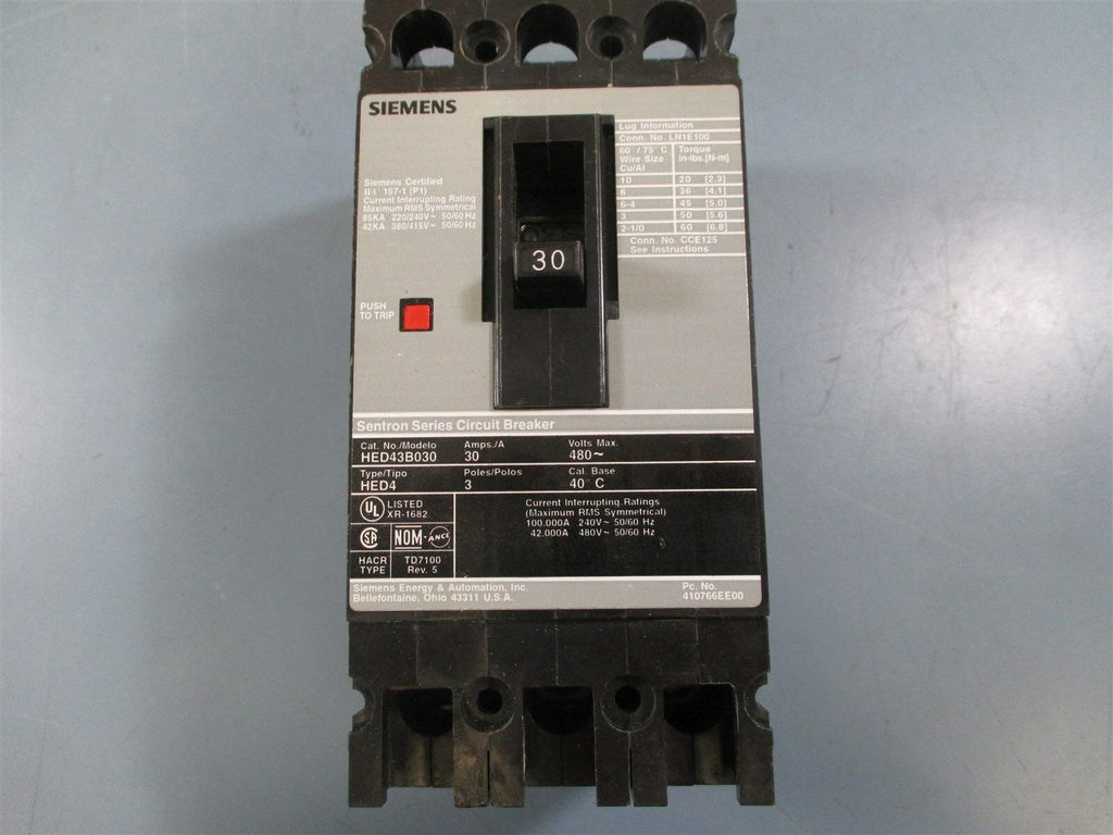 Siemens HED43B030 Circuit Breaker - New