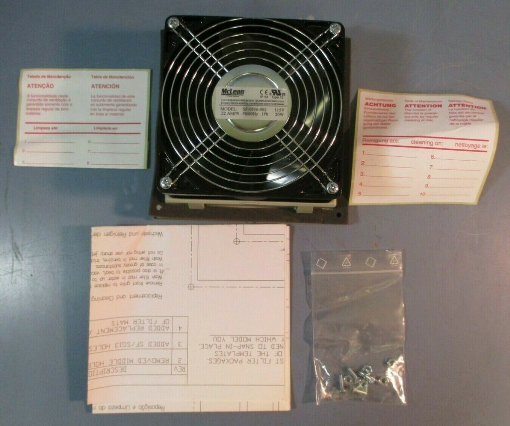 McLean SF-0516-002 Thermal Management Filter Fan: 115V, 1Ph, .22 Amps, 20W