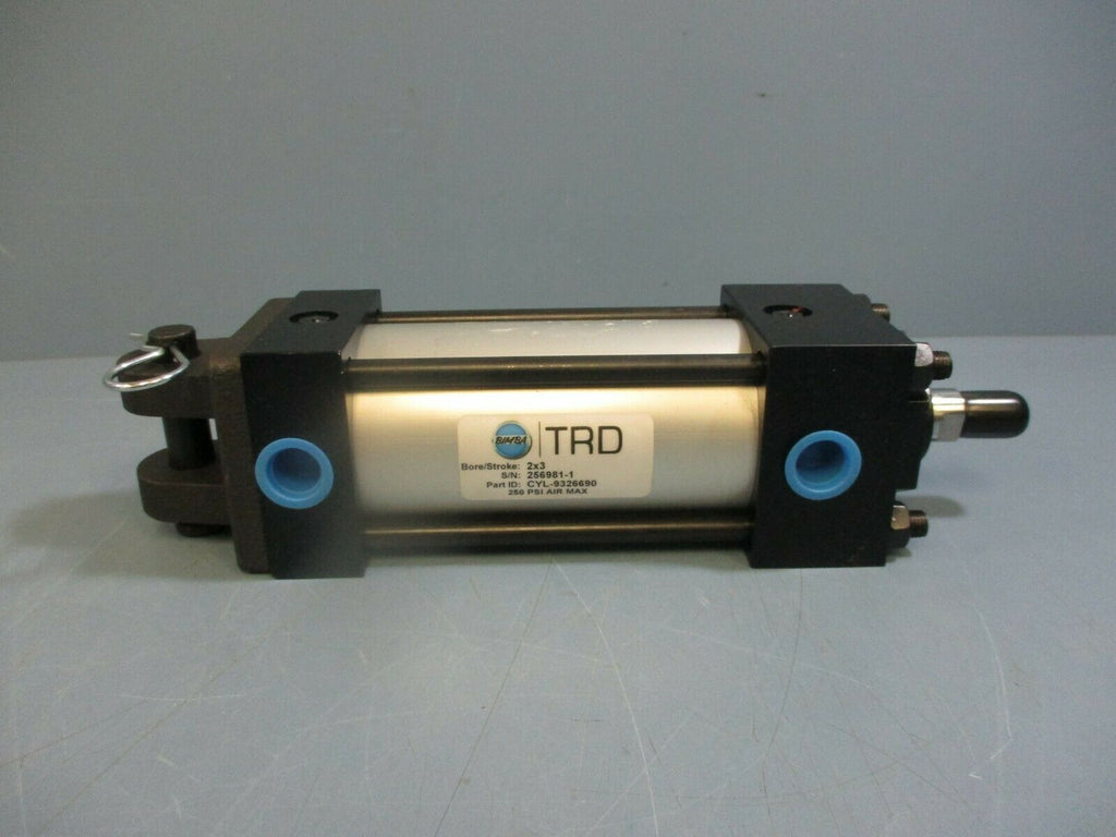 Bimba TRD Pneumatic Cylinder CYL-9326690 2in Bore 3in Stroke 250 PSI NEW