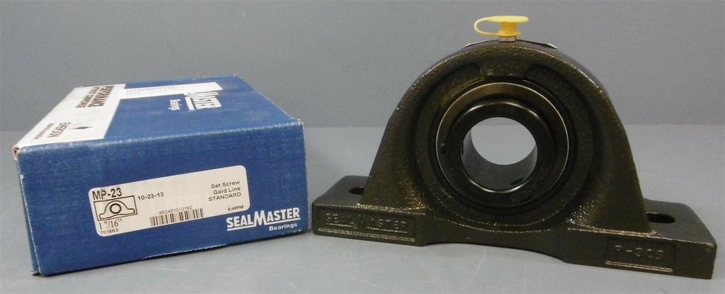"SealMaster Pillow Block Bearing: MP-23, 1-7/16"" Dia Shaft, 2 Bolt"