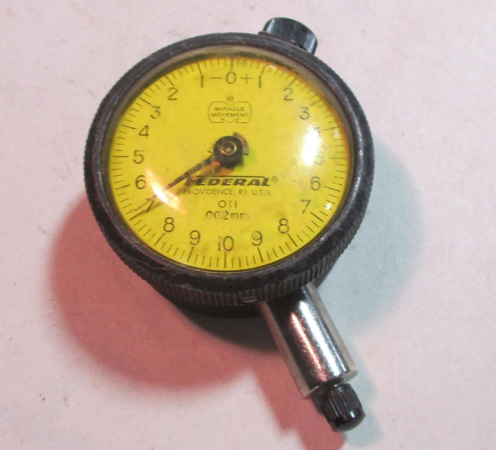 "Federal O11, .002mm Increment 1.5"" Face Dial Indicator Gauge Used"