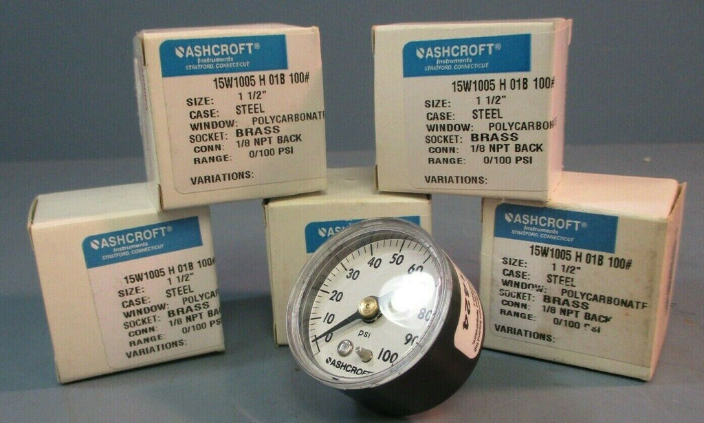 "Lot of 5| Ashcroft Pressure Gauge: 1-1/2"", 15W1005 H 01B 100#, 1/8 NPT Back"