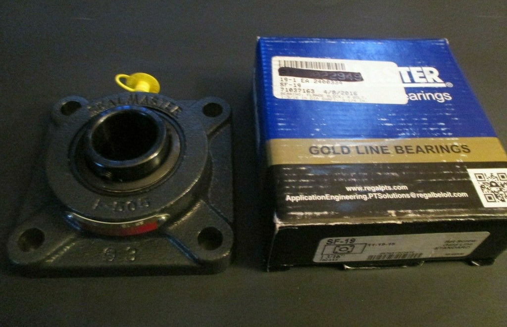 "SealMaster REGAL 1 3/16"" 4 Bolt Flange Bearing Unit, Set Screw Lock 703428 SF-19"
