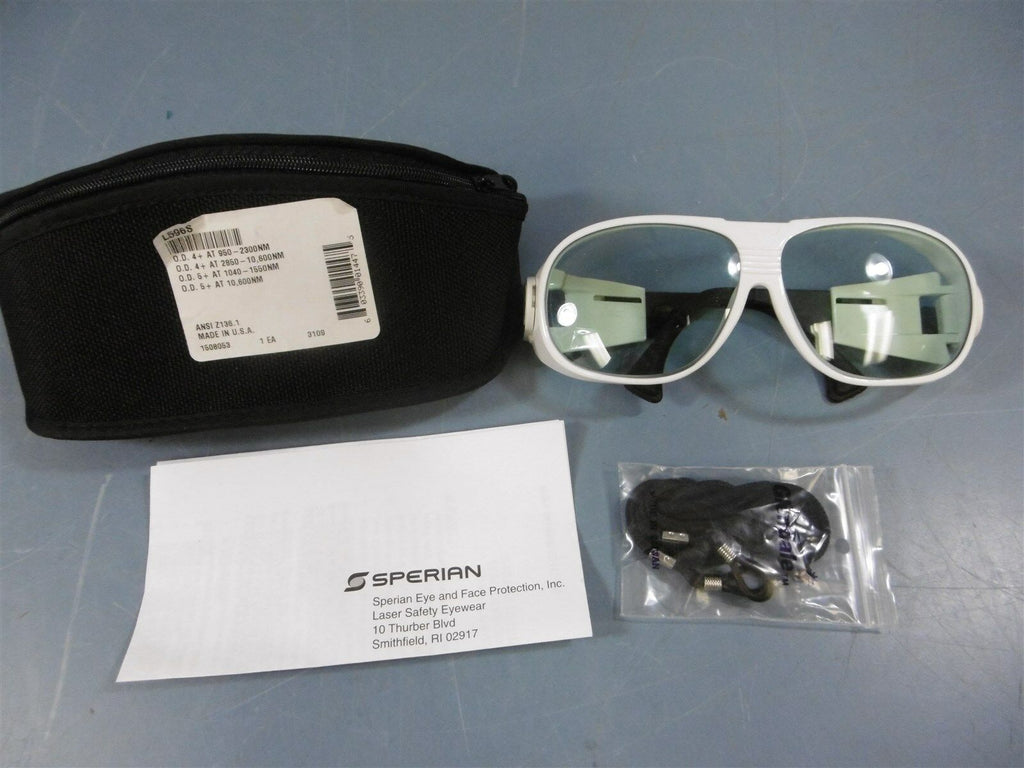 Used UVEX L596S Laser Glasses White With Case + Safety Cord Melted Arm