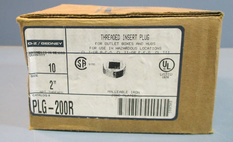 "(10) O-Z Gedney PLG-200R Threaded Insert Plug 2"" Zinc Plated Malleable Iron NIB"