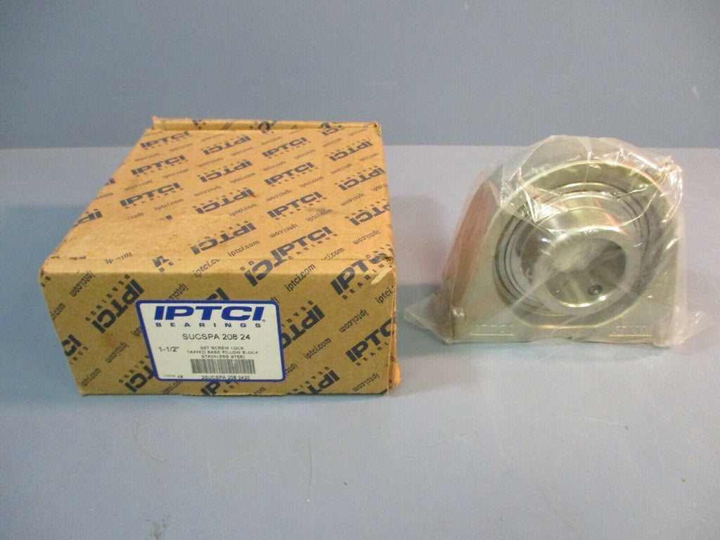 "IPTCI Tapped Base Pilow Block Bearing SUCSPA 208 24 1-1/2"" Bore NEW IN BOX"