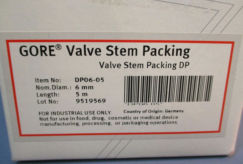 Gore Valve Stem Packing DP06-05 NEW IN BOX