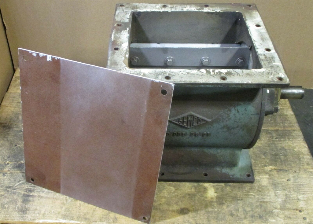 "Semco Rotary Valve 11-1/4 x 10"" Opening 1.43"" Shaft OD 8 Vane Damaged Used"
