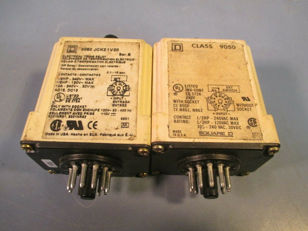 Lot of Two Square D Class 9050 Type Timing Relay JCK21V20