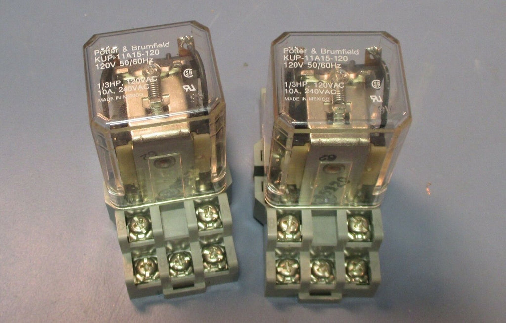 Lot of 2 Potter & Brumfield KUP-11A15-120 120V Relays w/ 27E893 Bases Used