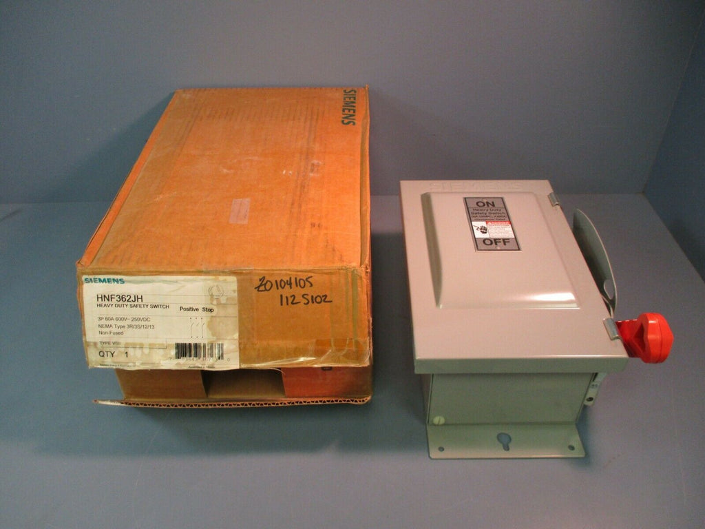 Siemens Heavy Duty Safety Switch HNF362JH 3P 60A 600V~250VDC NEW IN BOX