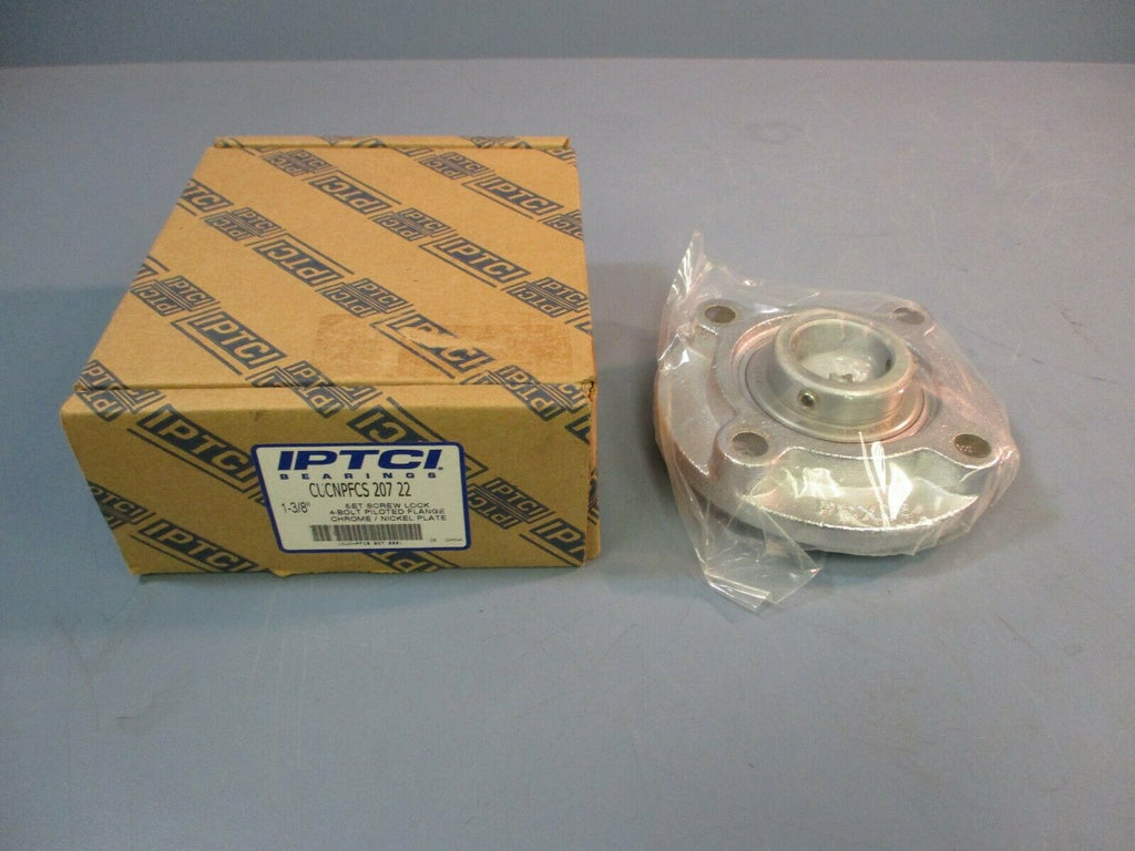 IPTCI Set Screw Lock 4-Bolt Piloted Flange Chrome / Nickel Plate CUCNPFCS 207 22
