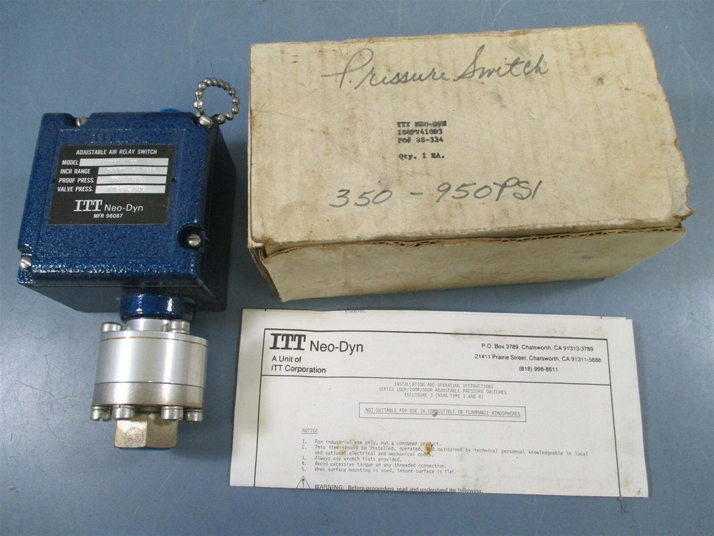 ITT Neo-Dyn 100PV410D3 Adjustable Air Relay Switch - New