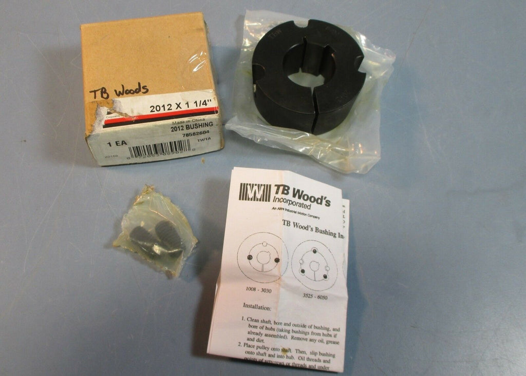 "TB Woods 2012 x 1-1/4"" Taper Lock Bushing w/ Screws & Instructions NIB"