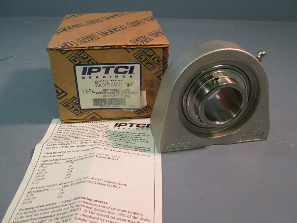 "IPTCI 1-1/4"" Stainless Steel Tapped Base Bearing SUCSPA206-20"