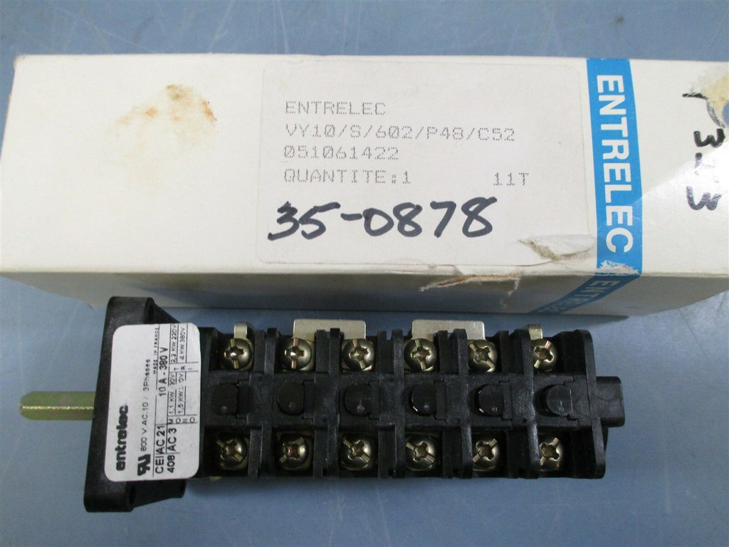 Entrelec VY10/S/602/P48/C52 3 Phase Rotary Switch - New