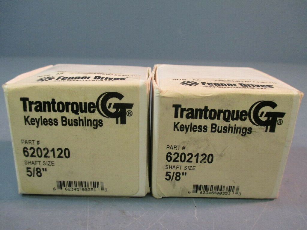 "TRANTORQUE GT 5/8"" SHAFT KEYLESS BUSHING FENNER DRIVES 6202120 LOT OF TWO"